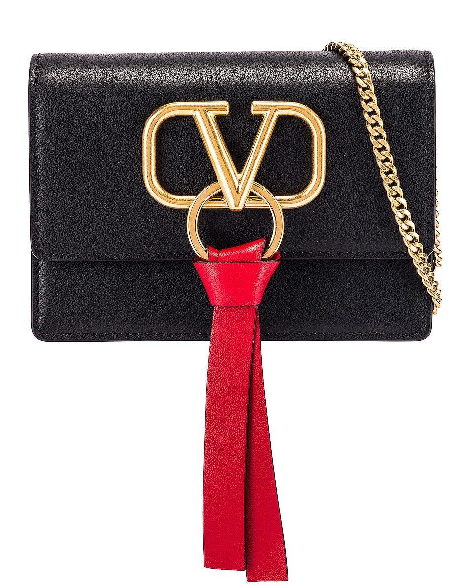 Image 1 of Valentino V Logo Ribbon Crossbody Bag in Black & Red