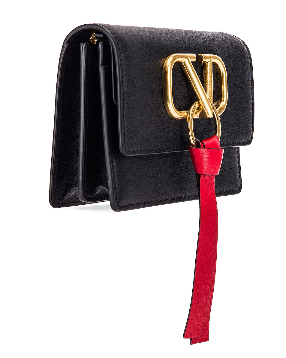 Image 4 of Valentino V Logo Ribbon Crossbody Bag in Black & Red