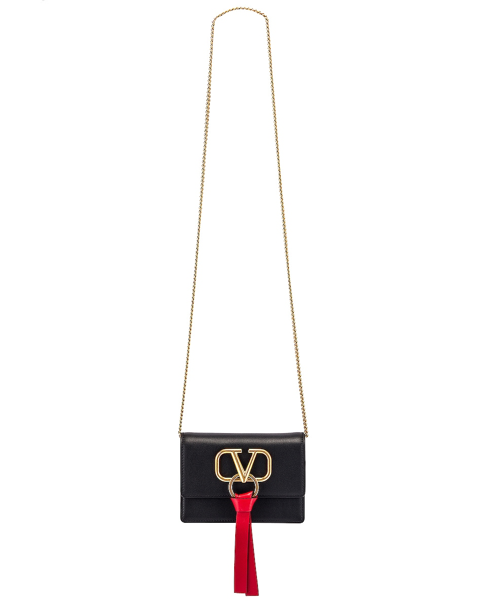 Image 6 of Valentino V Logo Ribbon Crossbody Bag in Black & Red