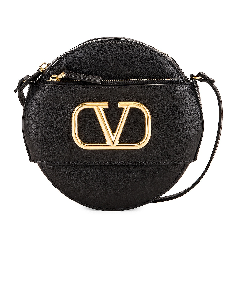 Image 1 of Valentino VLogo Circle Crossbody Bag in Black