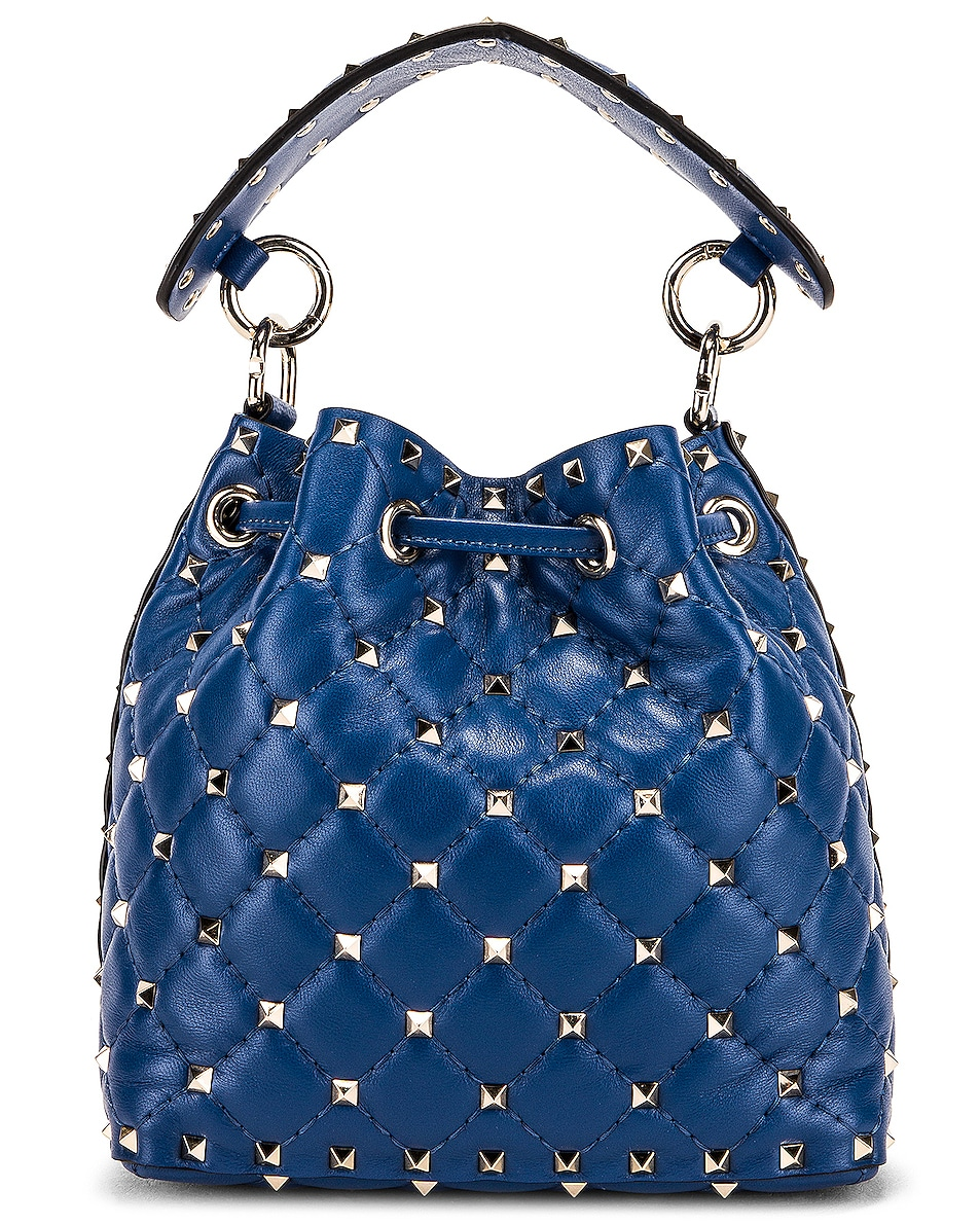 Image 3 of Valentino Rockstud Leather Spike Bucket Bag in Baltique
