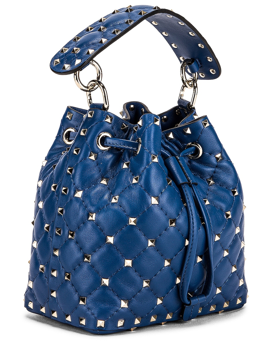 Image 4 of Valentino Rockstud Leather Spike Bucket Bag in Baltique