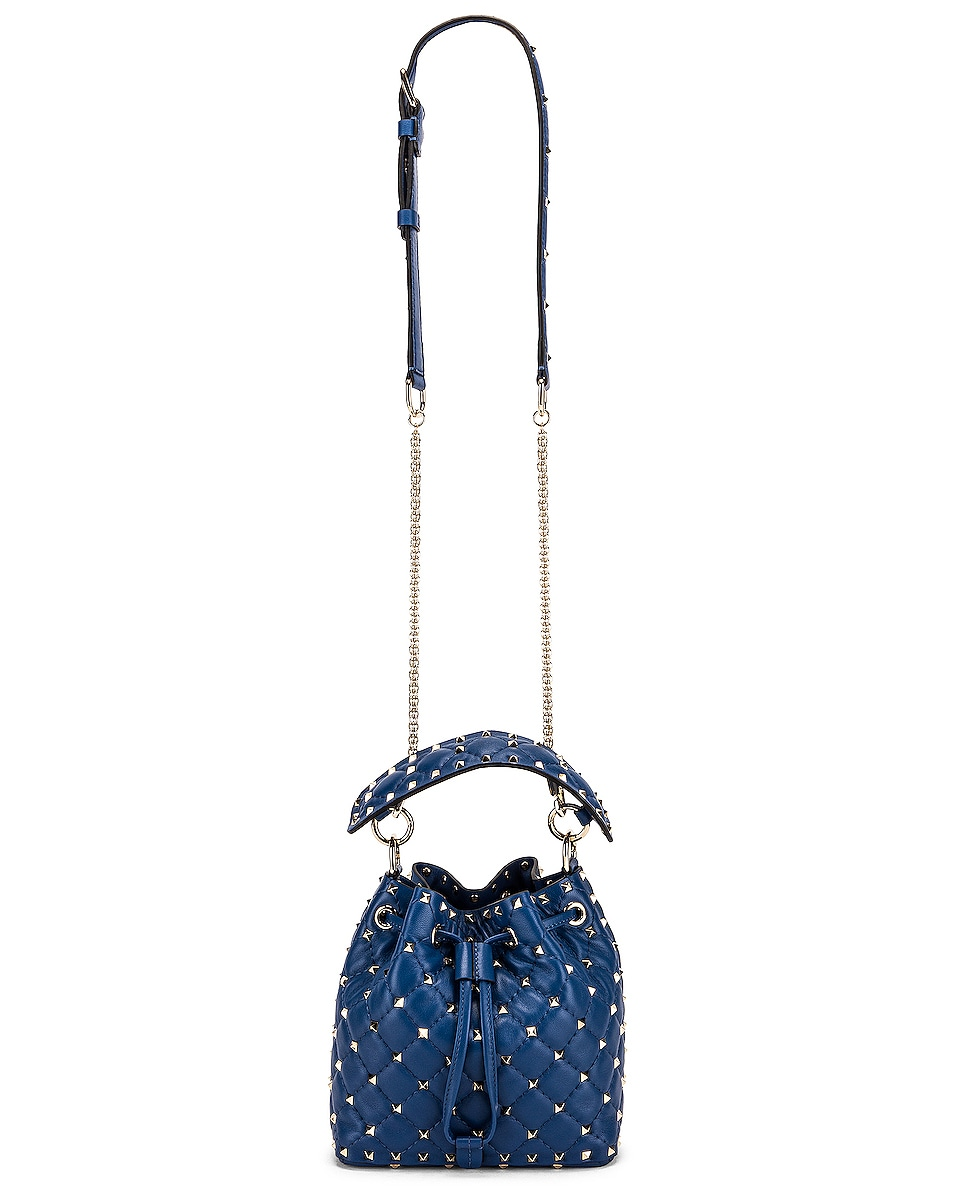 Image 6 of Valentino Rockstud Leather Spike Bucket Bag in Baltique