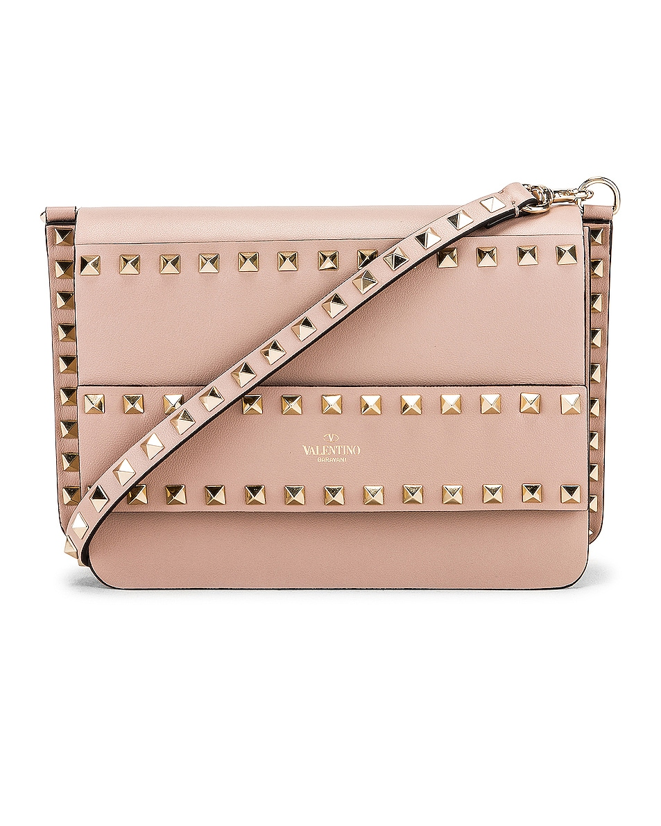 Image 1 of Valentino Rockstud Crossbody Camera Bag in Poudre