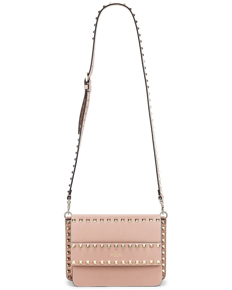 Image 6 of Valentino Rockstud Crossbody Camera Bag in Poudre