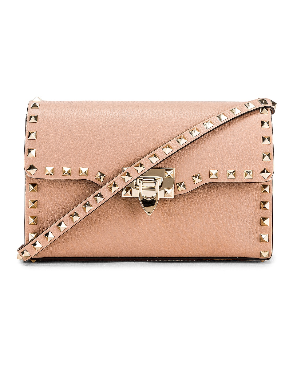 Image 1 of Valentino Rockstud Small Shoulder Bag in Poudre