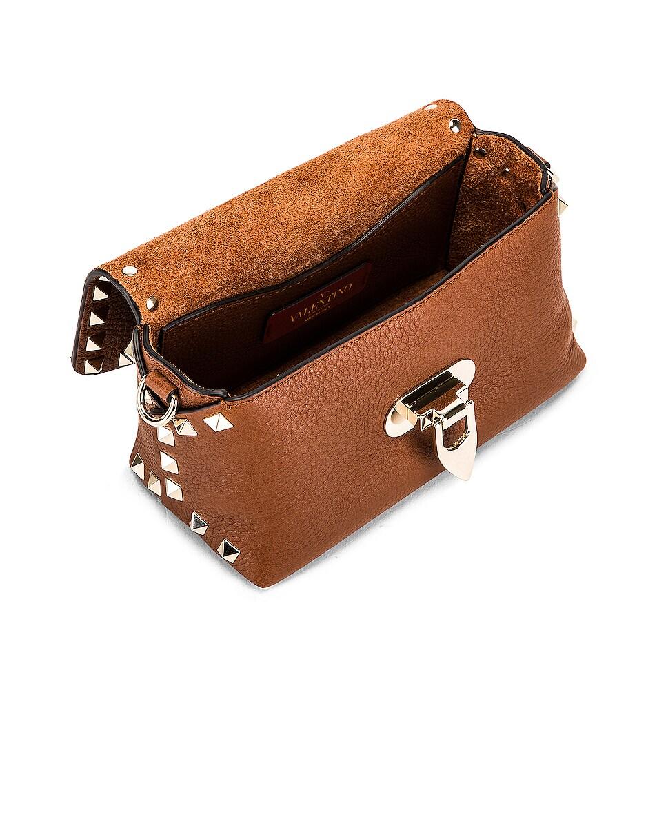 Image 5 of Valentino Rockstud Mini Crossbody Bag in Bright Cognac