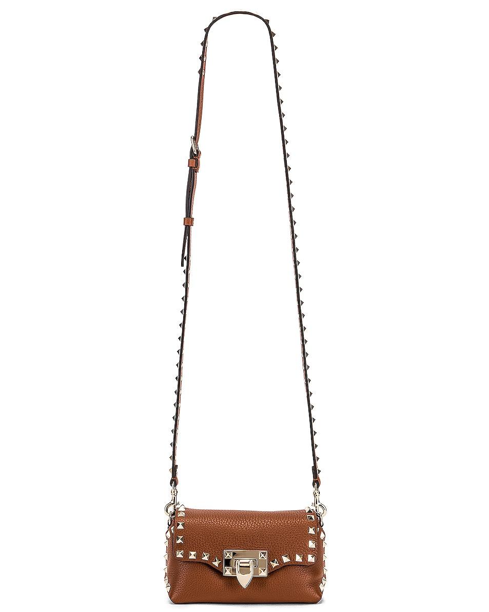 Image 6 of Valentino Rockstud Mini Crossbody Bag in Bright Cognac