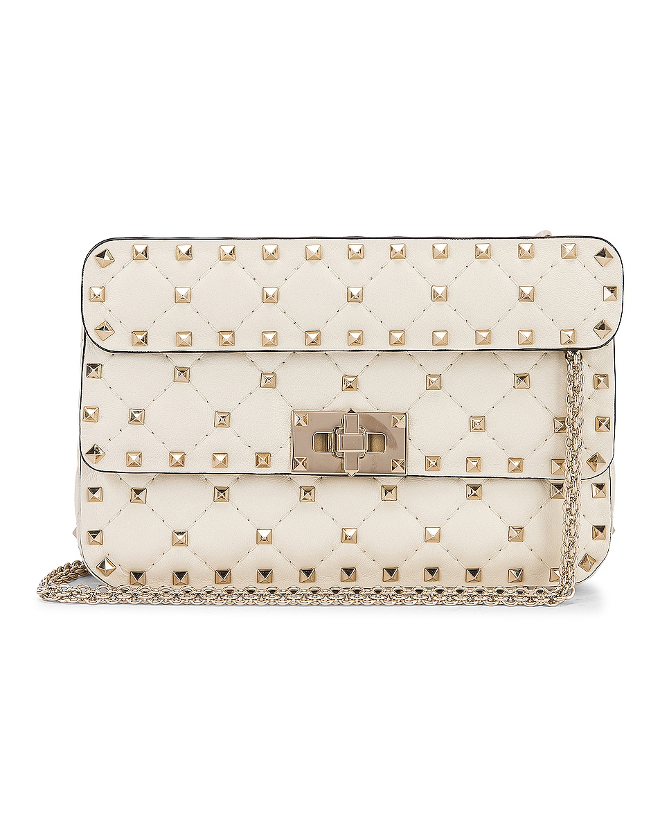 Image 1 of Valentino Rockstud Leather Spike Chain Shoulder Bag in Light Ivory