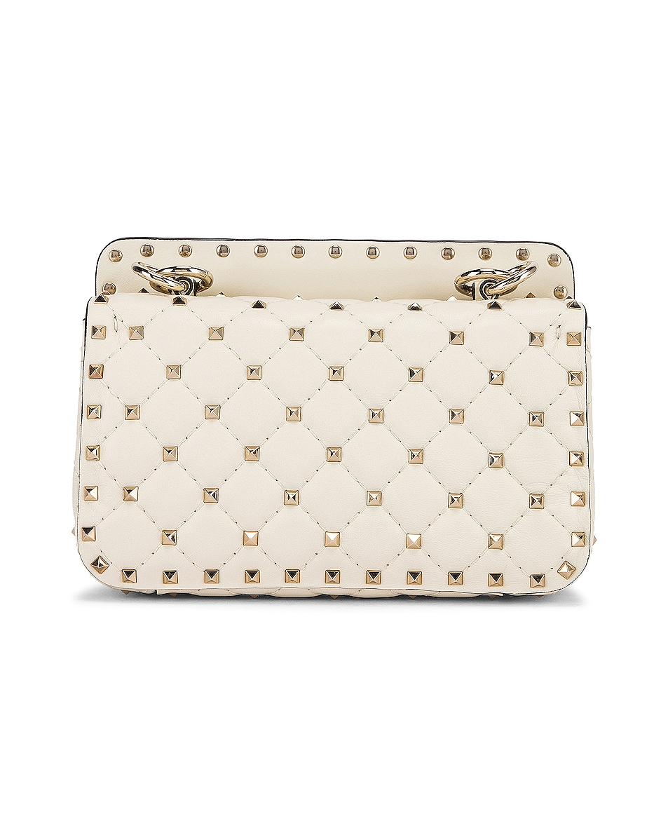 Image 3 of Valentino Rockstud Leather Spike Chain Shoulder Bag in Light Ivory