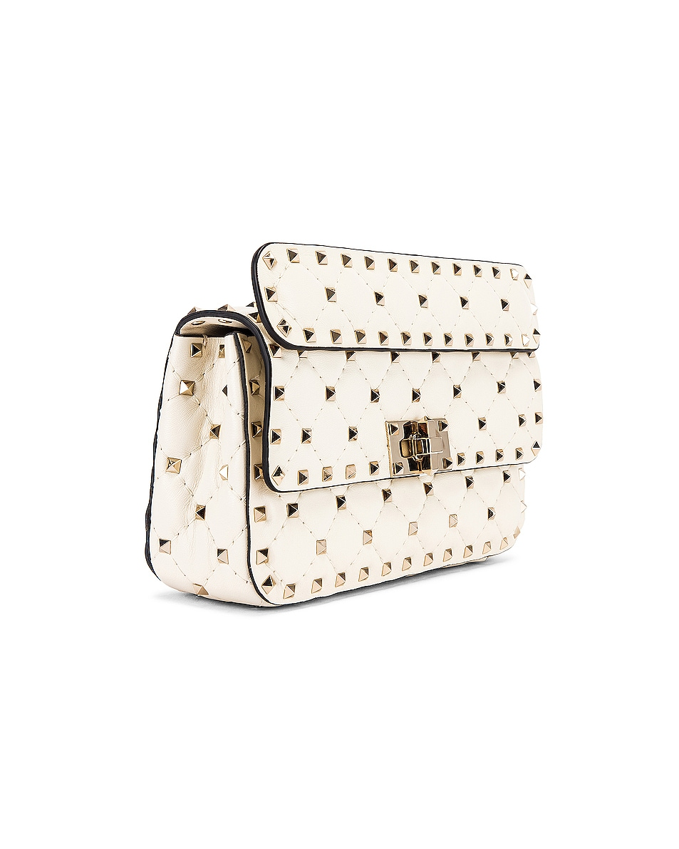 Image 4 of Valentino Rockstud Leather Spike Chain Shoulder Bag in Light Ivory