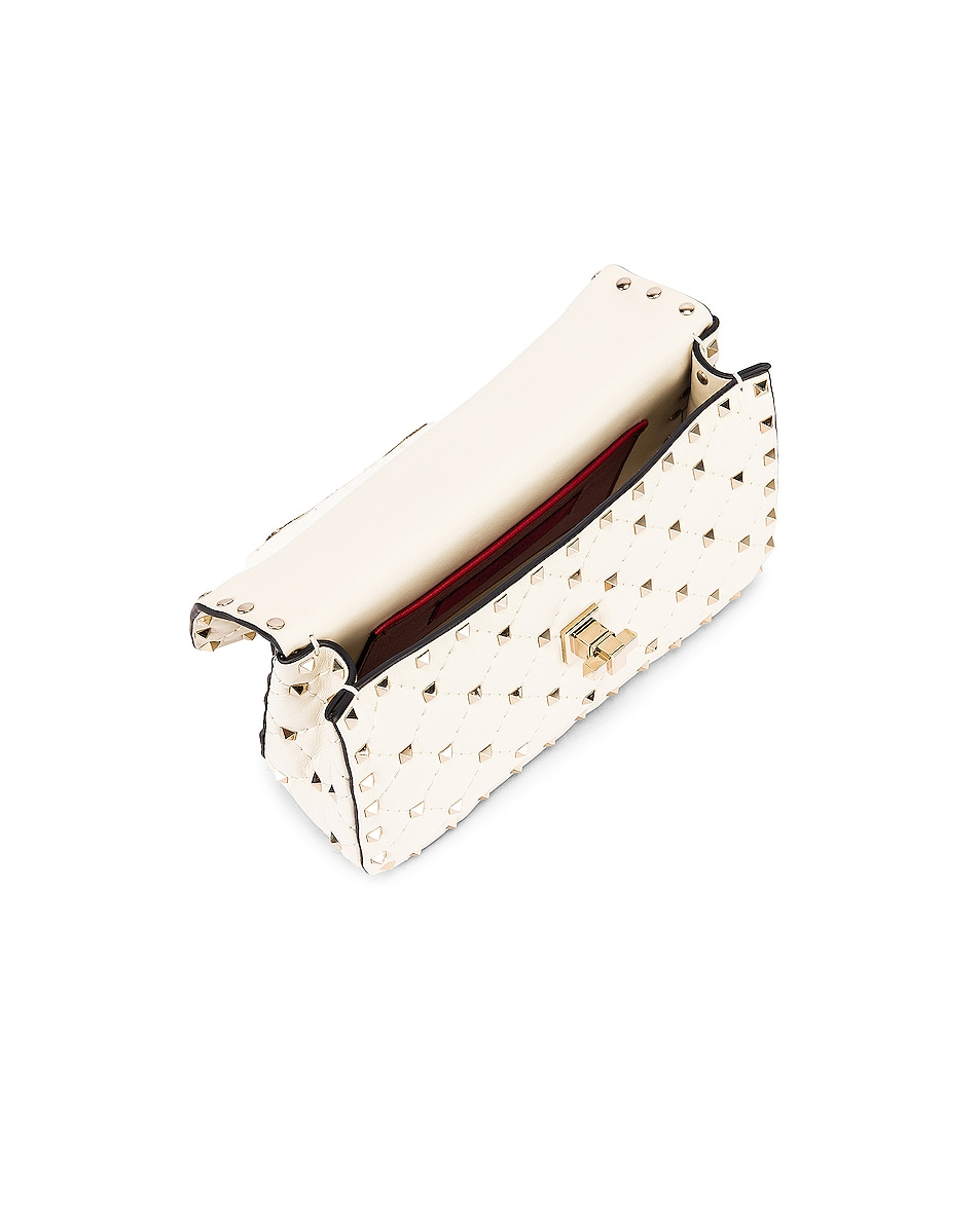 Image 5 of Valentino Rockstud Leather Spike Chain Shoulder Bag in Light Ivory