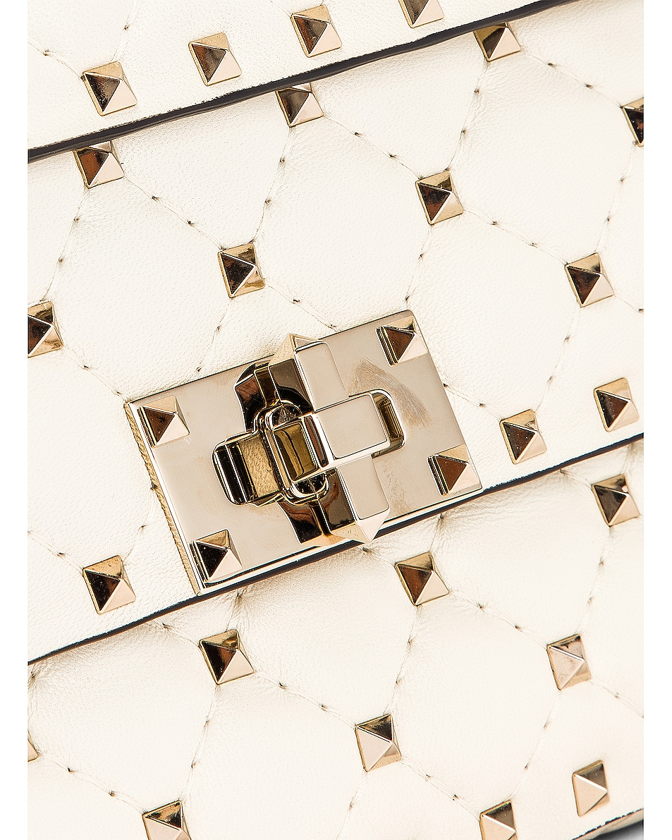 Image 8 of Valentino Rockstud Leather Spike Chain Shoulder Bag in Light Ivory
