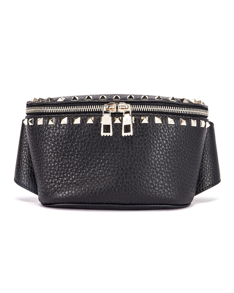 Image 1 of Valentino Rockstud Belt Bag in Black