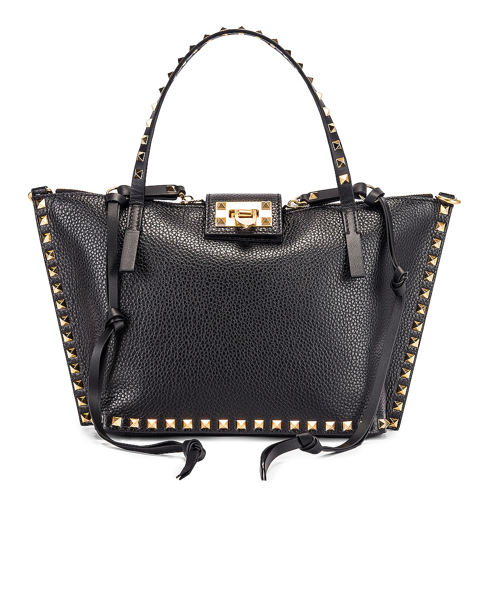 Image 1 of Valentino Rockstud Hype Tote in Black