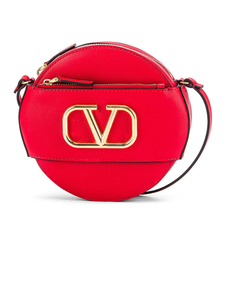 Image 1 of Valentino V Logo Circle Crossbody Bag in Red