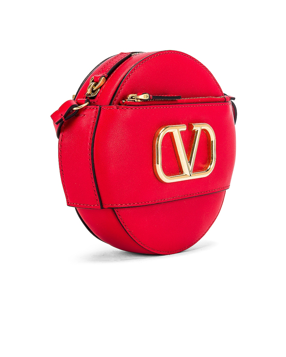 Image 4 of Valentino V Logo Circle Crossbody Bag in Red