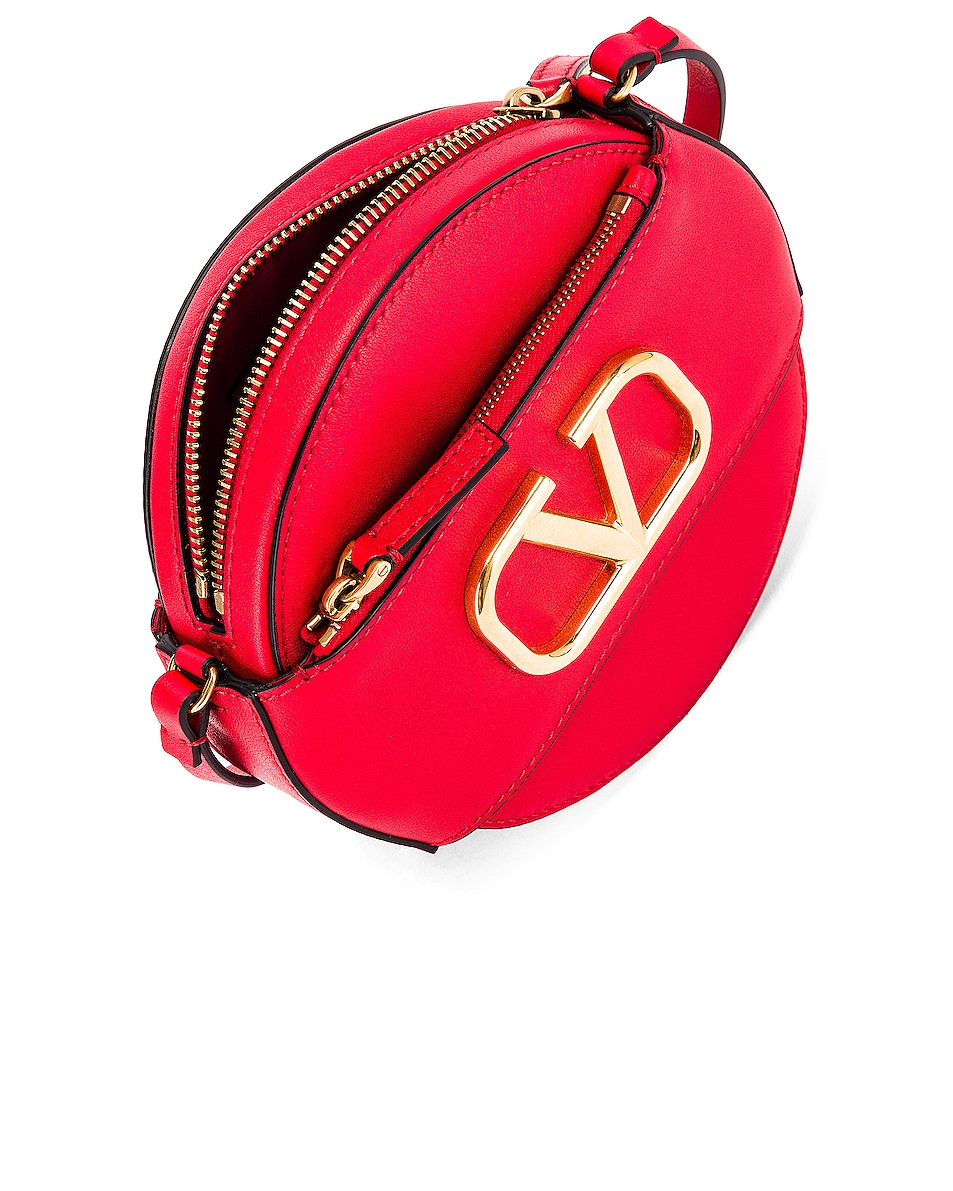 Image 5 of Valentino V Logo Circle Crossbody Bag in Red