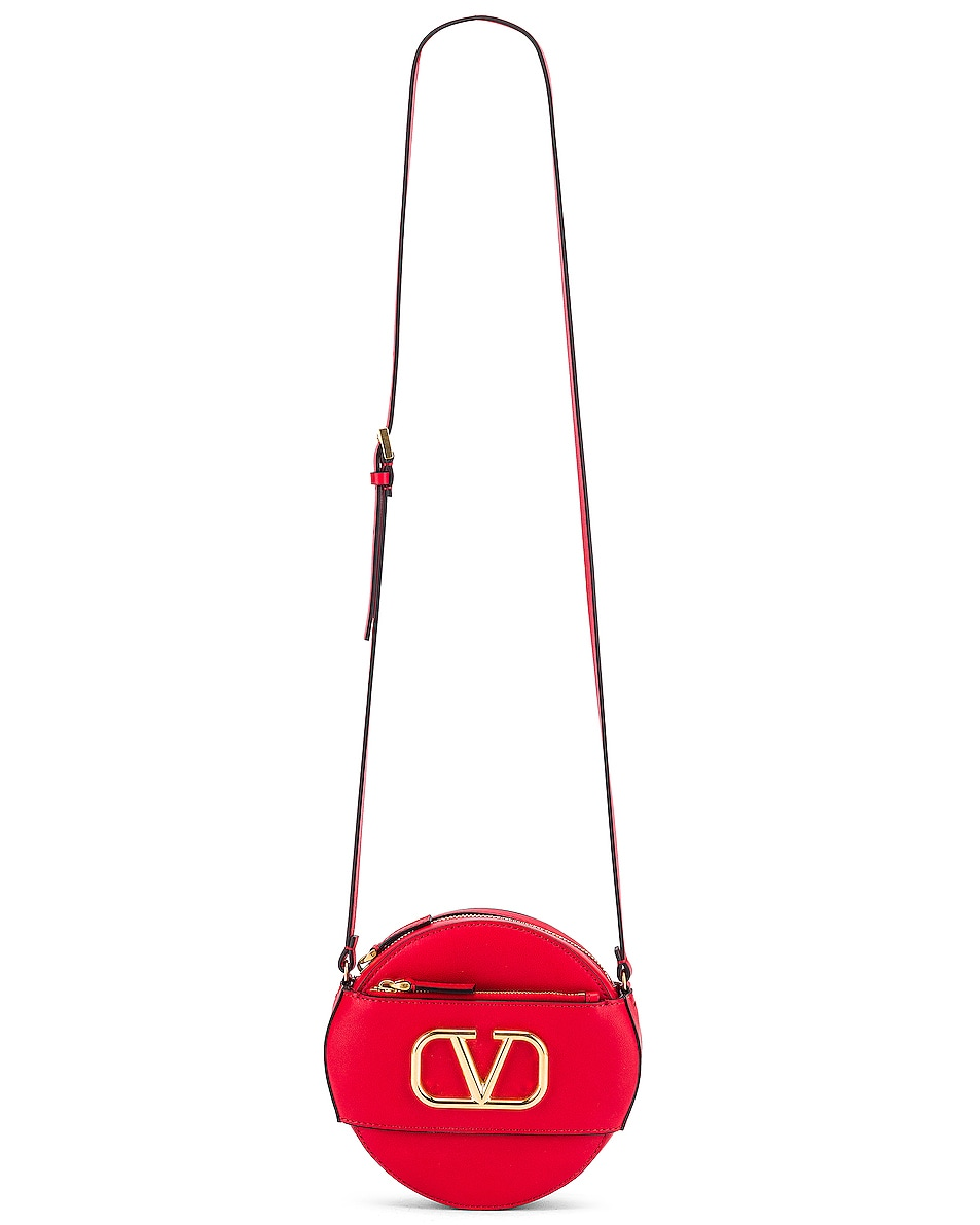 Image 6 of Valentino V Logo Circle Crossbody Bag in Red