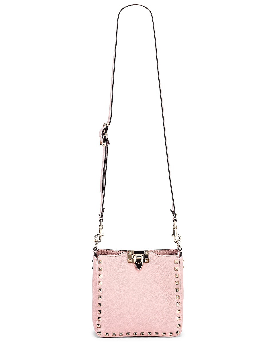 Image 6 of Valentino Rockstud Messenger Bag in Water Rose
