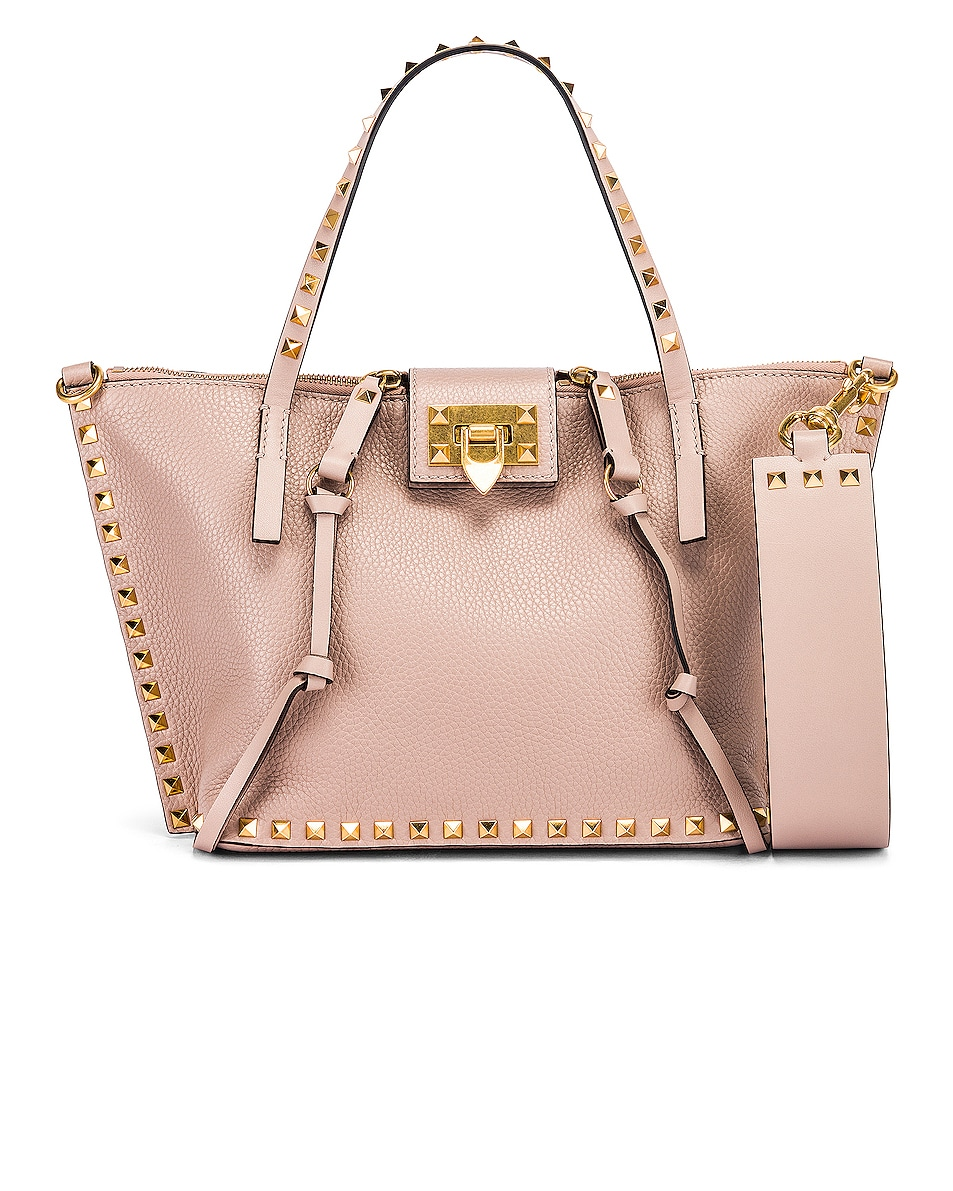 Image 1 of Valentino Rockstud Hype Tote in Poudre