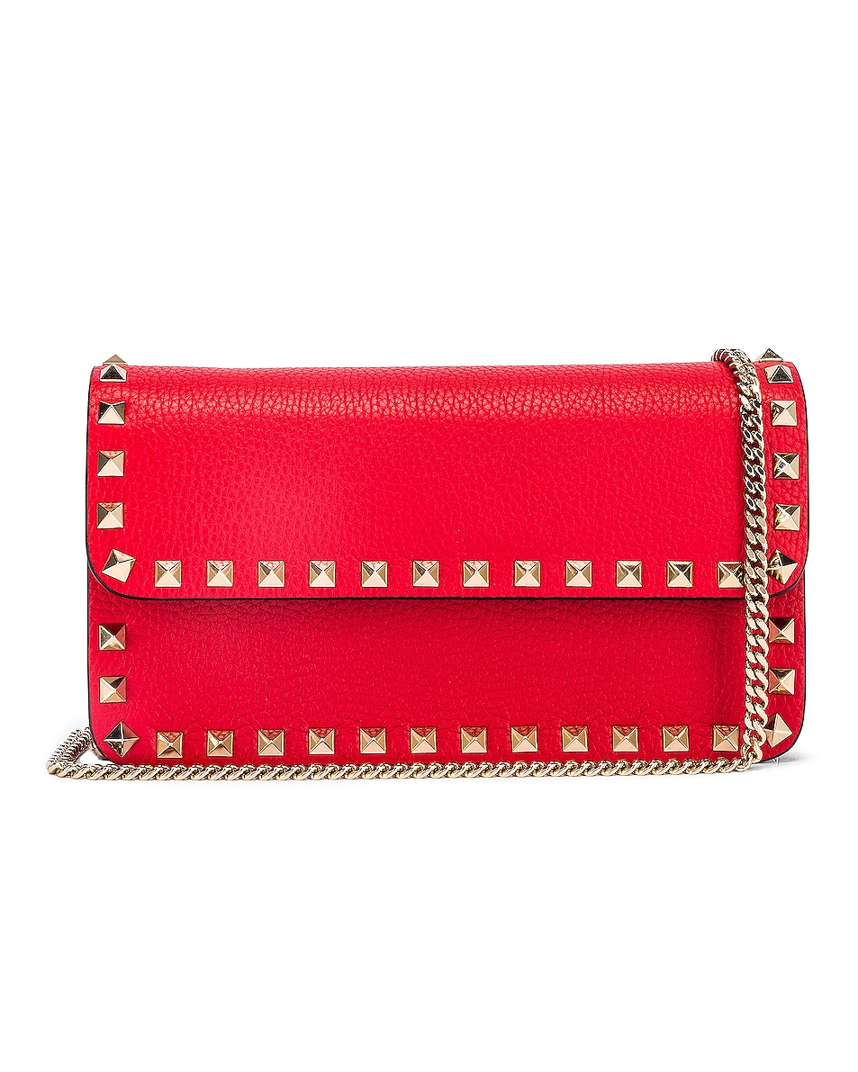 Image 1 of Valentino Rockstud Flap Crossbody Bag in Red