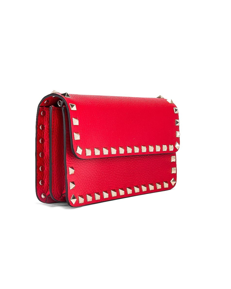 Image 4 of Valentino Rockstud Flap Crossbody Bag in Red