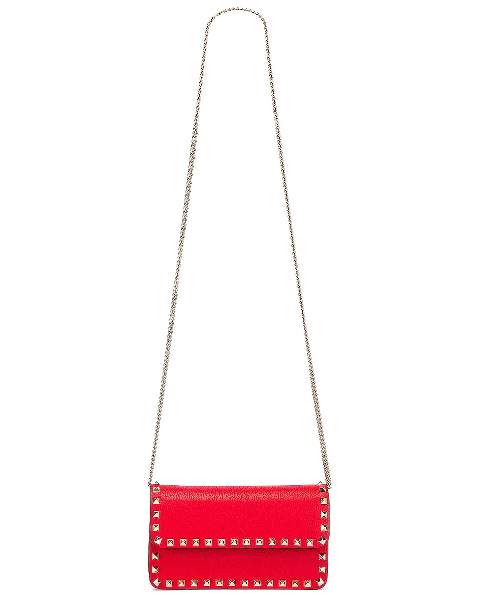 Image 6 of Valentino Rockstud Flap Crossbody Bag in Red