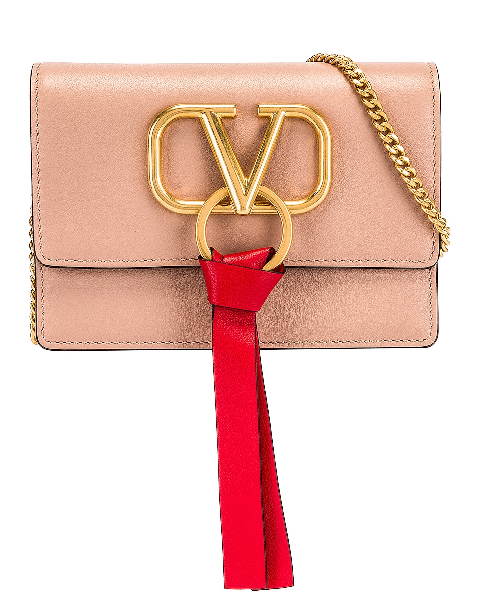 Image 1 of Valentino VLogo Ribbon Crossbody Bag in Rose & Red