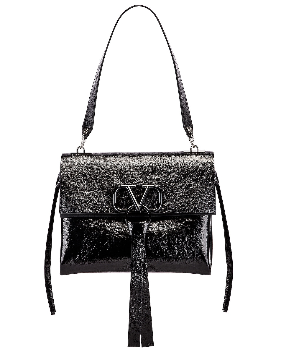 Image 1 of Valentino VLogo Ribbon Shoulder Bag in Black