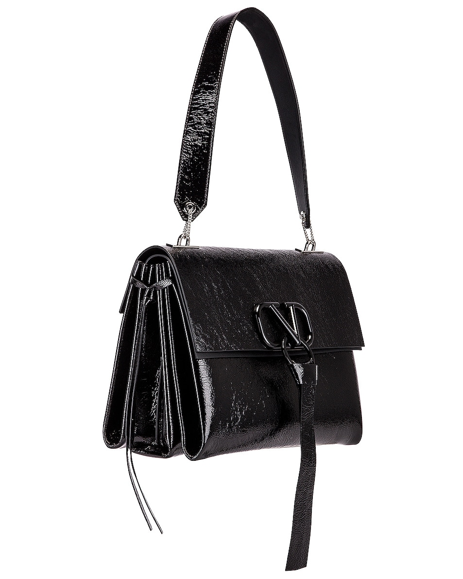 Image 4 of Valentino VLogo Ribbon Shoulder Bag in Black