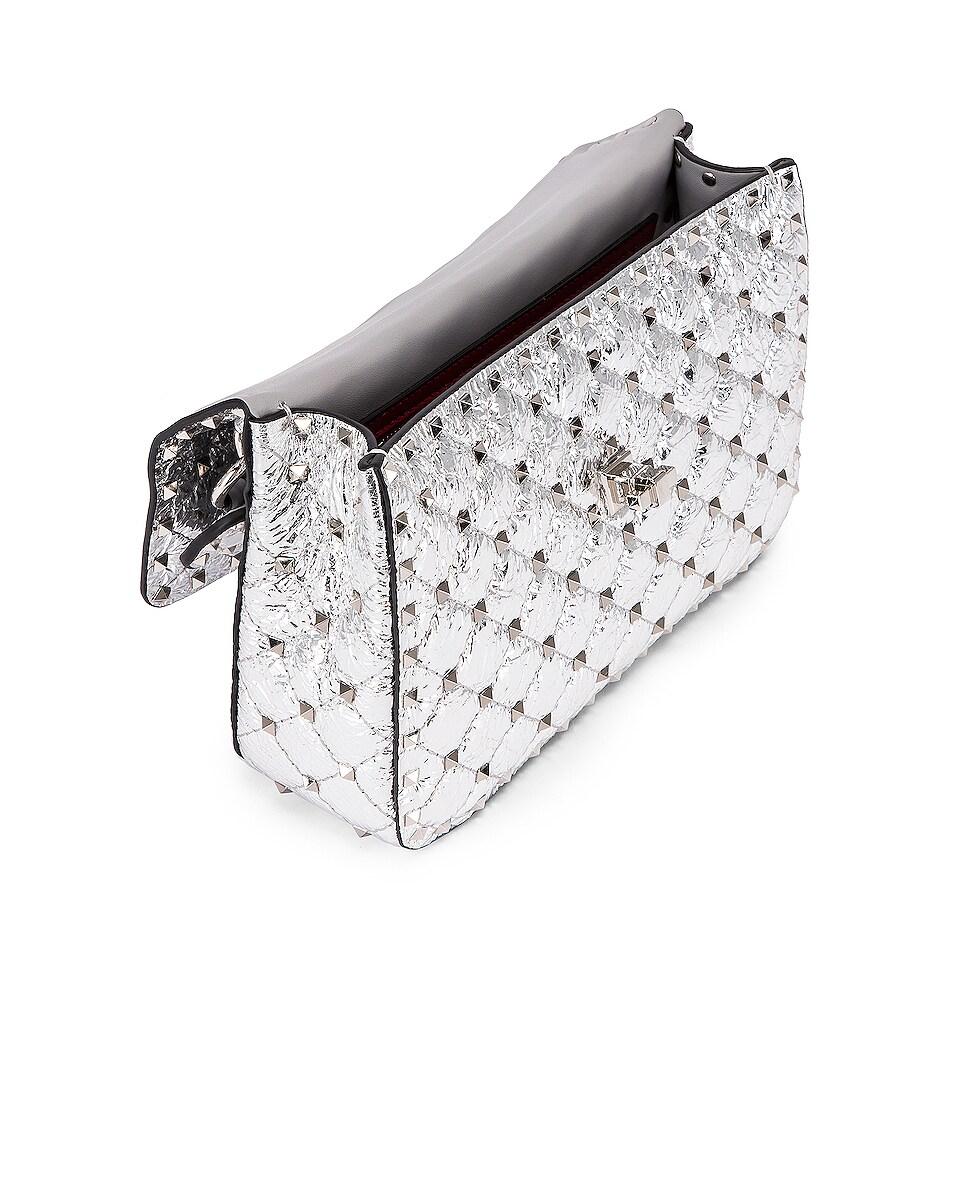 Image 5 of Valentino Rockstud Spike Medium Shoulder Bag in Agnello & Palladium