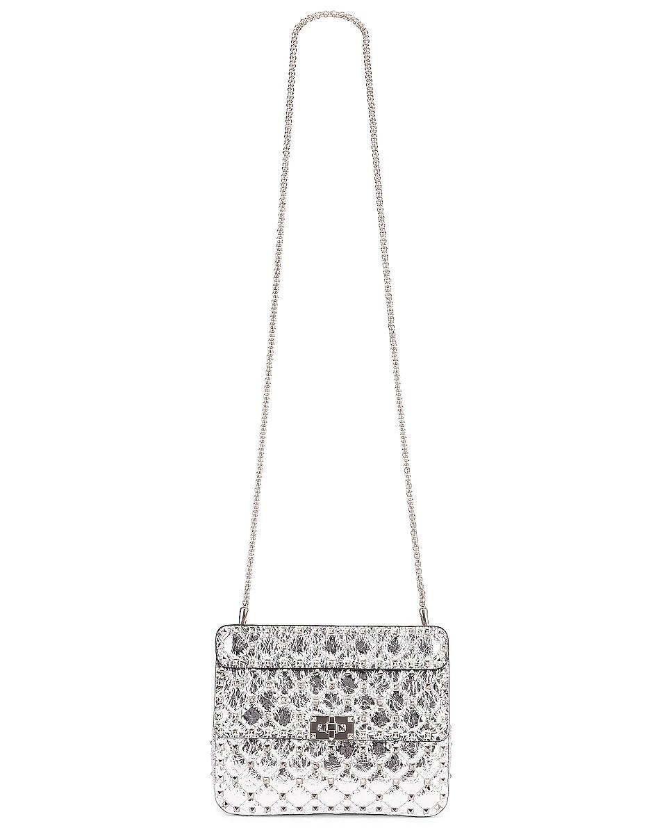 Image 6 of Valentino Rockstud Spike Medium Shoulder Bag in Agnello & Palladium