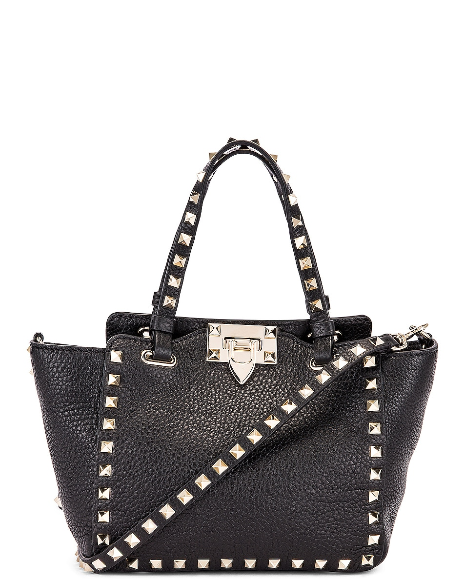 Image 1 of Valentino Rockstud Mini Tote in Black
