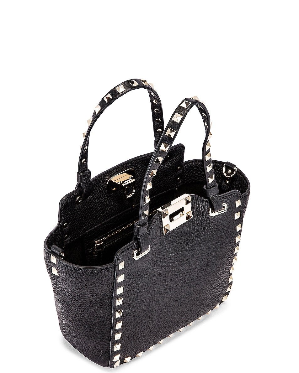 Image 5 of Valentino Rockstud Mini Tote in Black