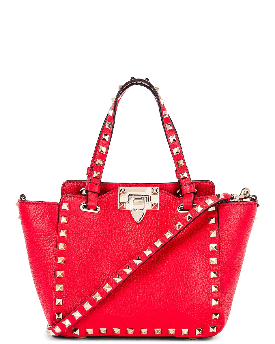 Image 1 of Valentino Rockstud Mini Tote in Red