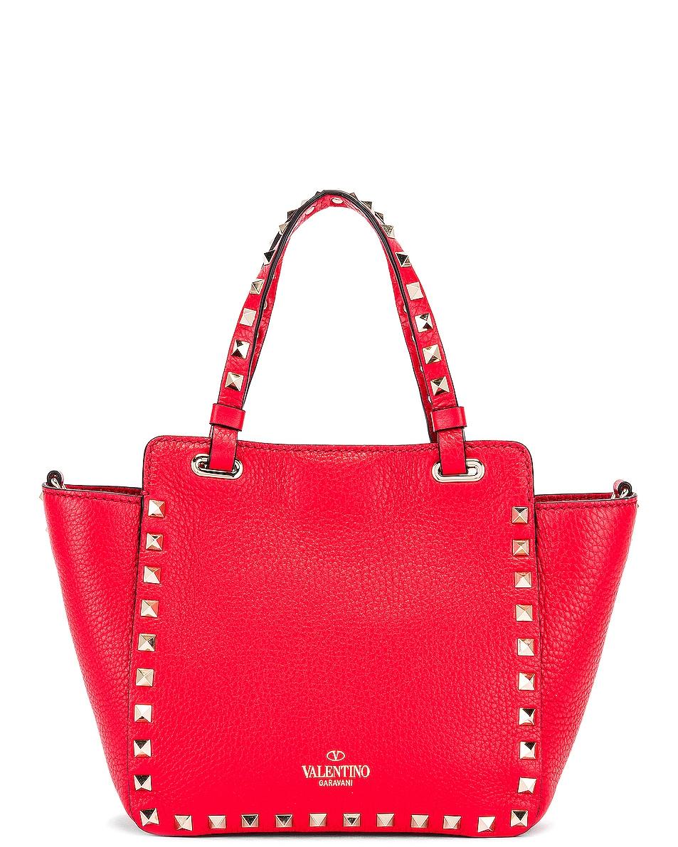 Image 3 of Valentino Rockstud Mini Tote in Red