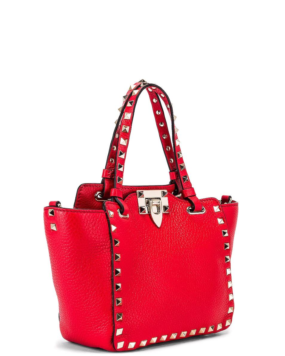Image 4 of Valentino Rockstud Mini Tote in Red