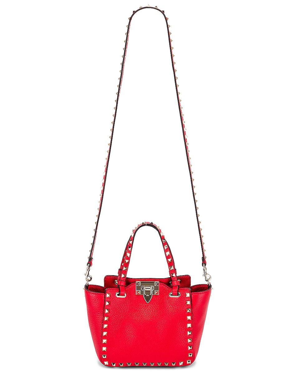 Image 6 of Valentino Rockstud Mini Tote in Red
