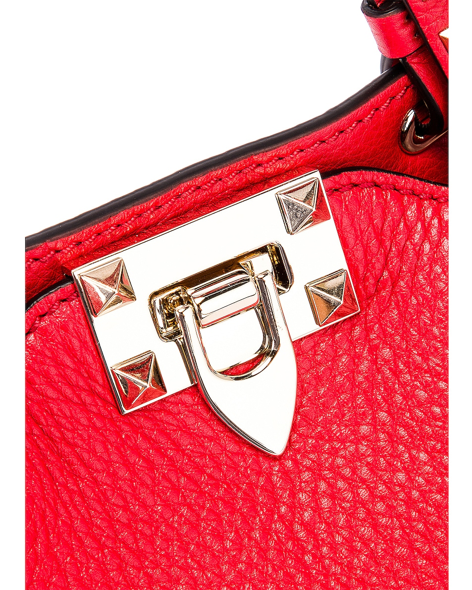 Image 8 of Valentino Rockstud Mini Tote in Red