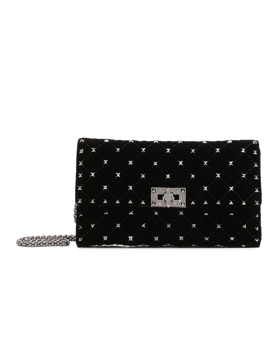 Image 1 of Valentino Rockstud Spike Velvet Shoulder Bag in Black Diamond