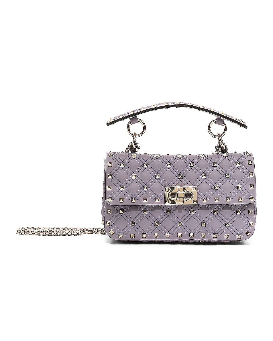 Image 1 of Valentino Small Rockstud Spike Velvet Shoulder Bag in Lilas
