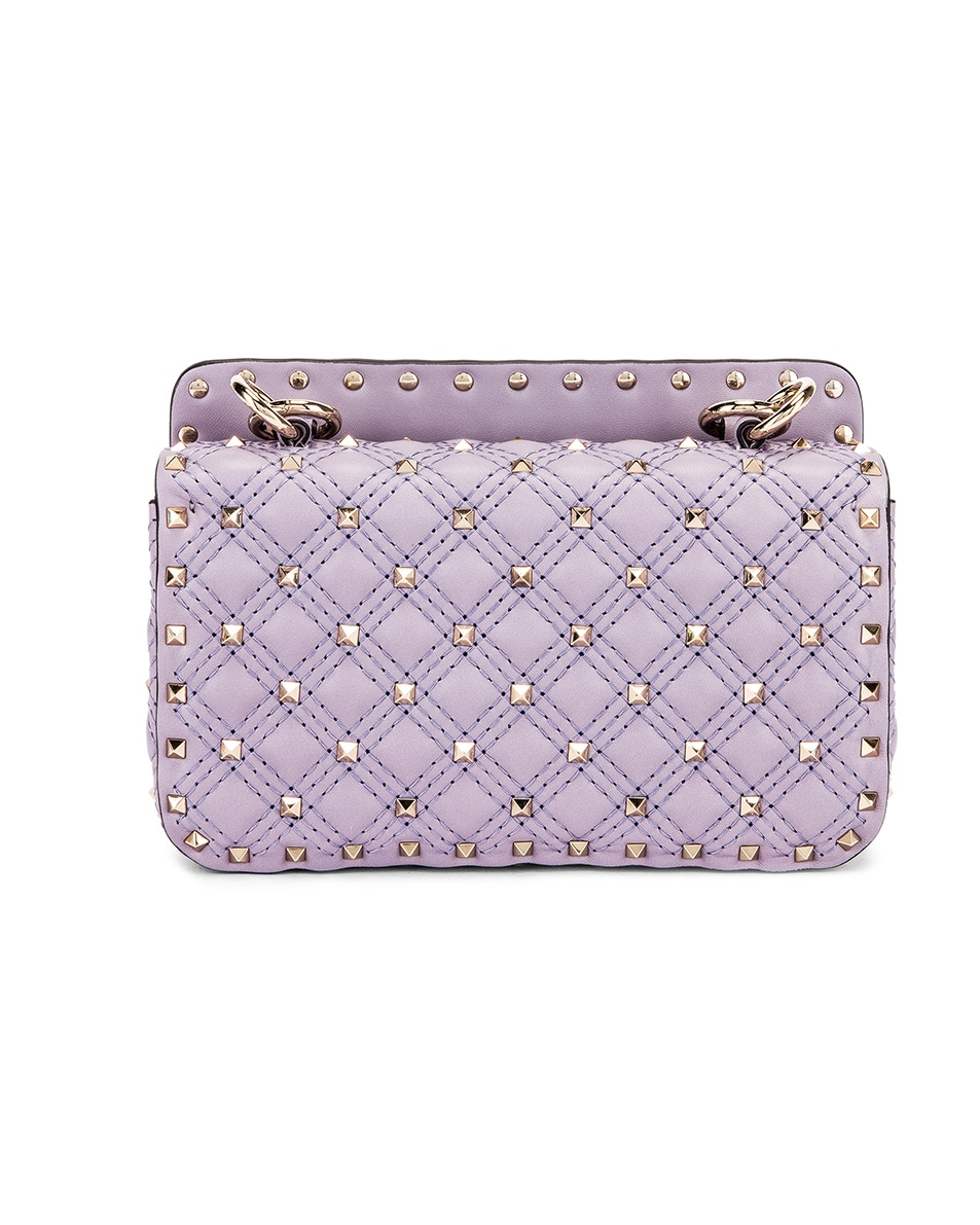 Image 2 of Valentino Small Rockstud Spike Velvet Shoulder Bag in Lilas