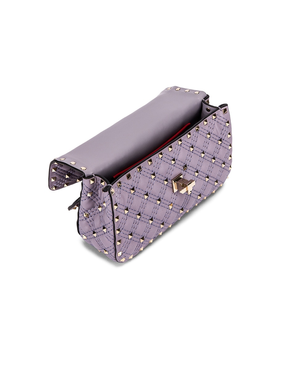 Image 4 of Valentino Small Rockstud Spike Velvet Shoulder Bag in Lilas