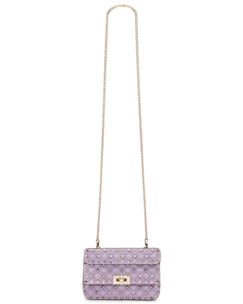 Image 5 of Valentino Small Rockstud Spike Velvet Shoulder Bag in Lilas