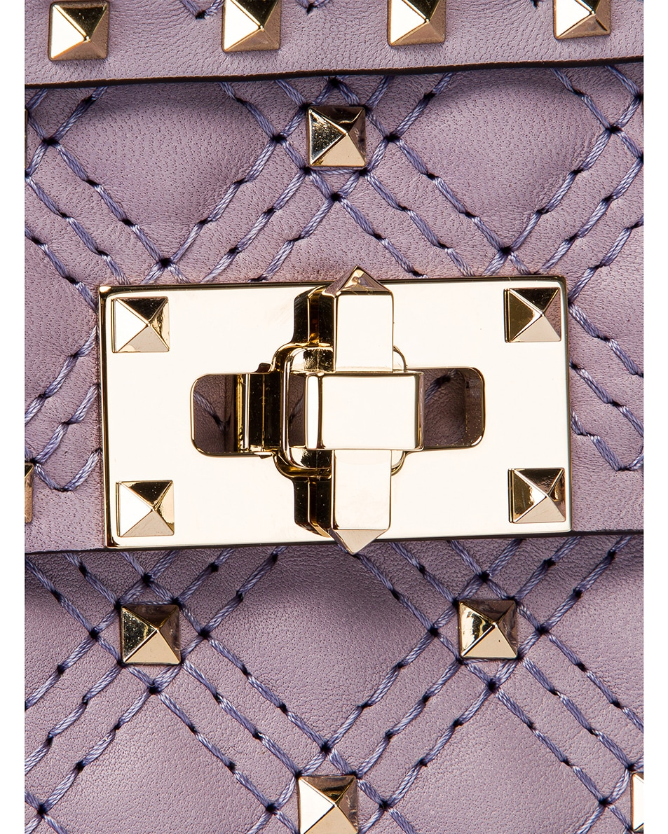 Image 7 of Valentino Small Rockstud Spike Velvet Shoulder Bag in Lilas