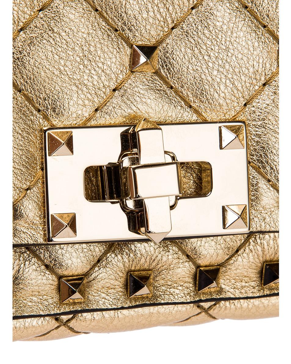Image 8 of Valentino Rockstud Spike Clutch in Dark Gold