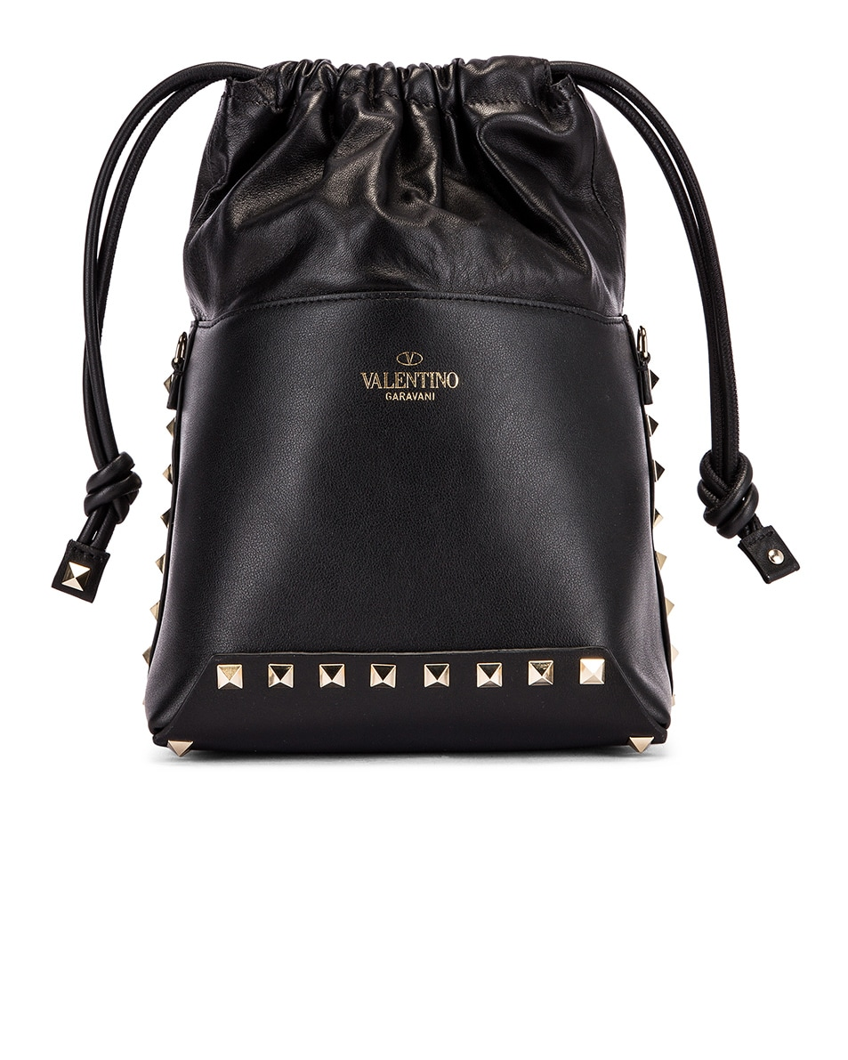 Image 2 of Valentino Mini Rockstud Bucket Bag in Black