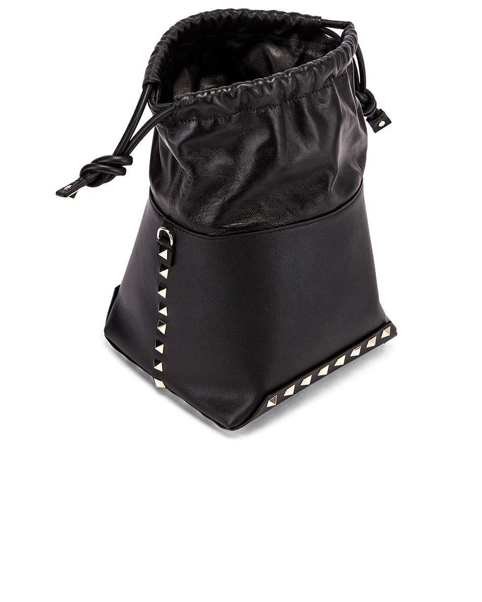 Image 4 of Valentino Mini Rockstud Bucket Bag in Black