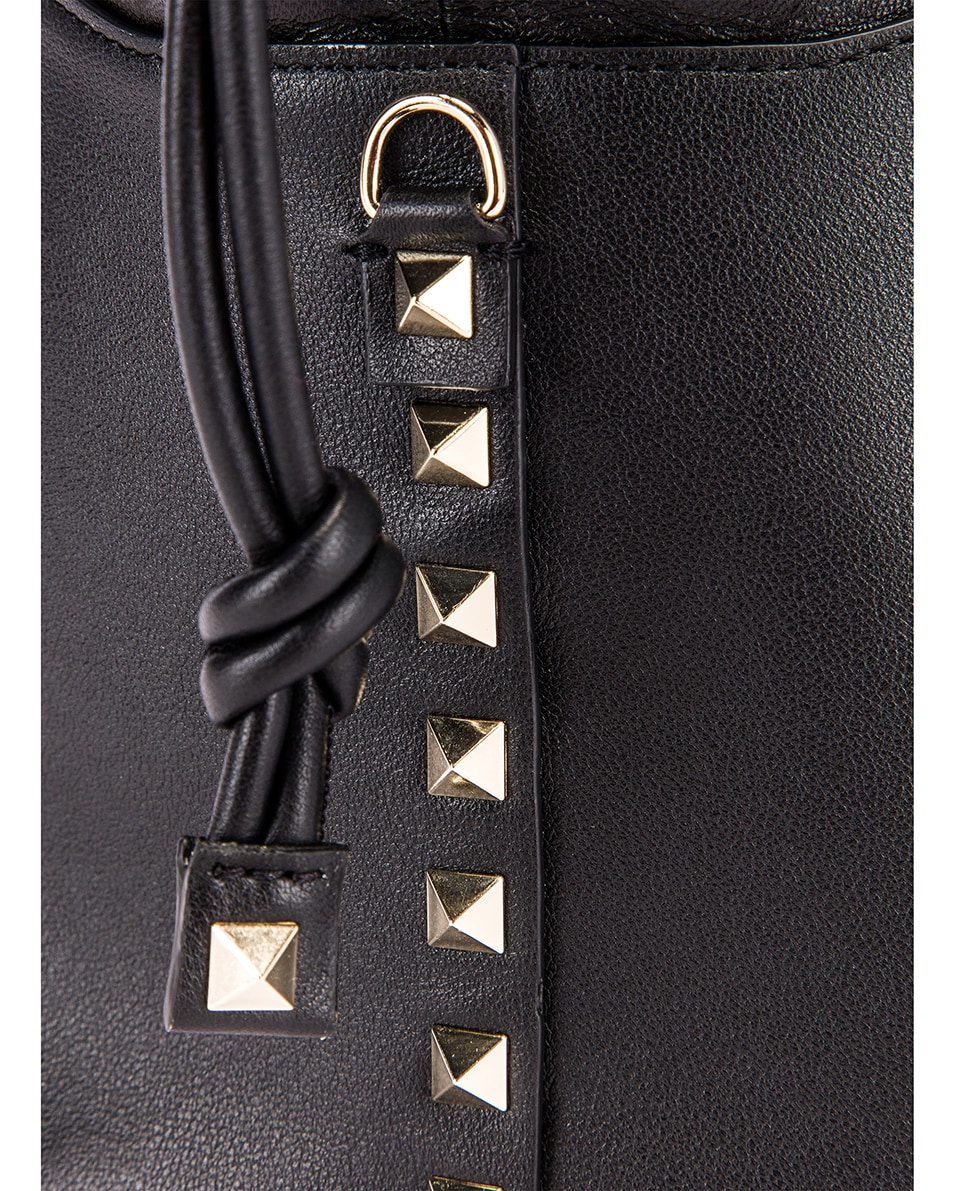 Image 8 of Valentino Mini Rockstud Bucket Bag in Black
